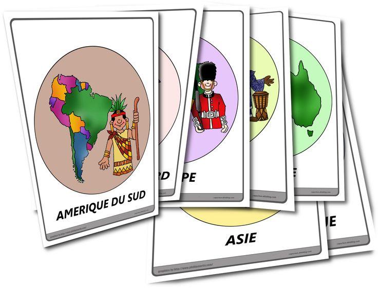 Les continents - Jeu de cartes - Capuchon à l'école