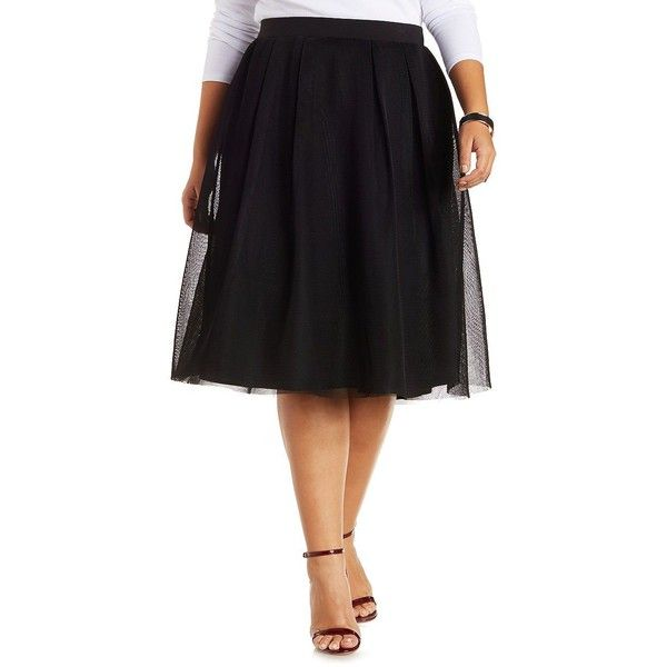 Charlotte Russe Plus Size Black Mesh Full Midi Skirt by Charlotte... ($18) ❤ liked on Polyvore featuring plus size fashion, plus size clothing, plus size skirts, black, plus size black skirt, mid-calf skirt, black skirt and high-waisted skirts