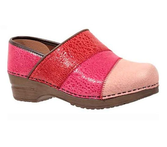 Gorgeous combination of textured pink leather, these Sanita Clogs on the  Original Stapled Bottom feature a specially designed sole which creates a  subtle ...