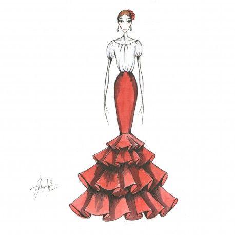 Falda larga de 4 volantes #moda #flamenca #patrones #volantes #lunares #sketch #dibujo #boceto #pintura #modelo