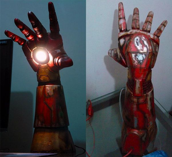 Iron Man's hand repulsor turned into a battle damaged lamp