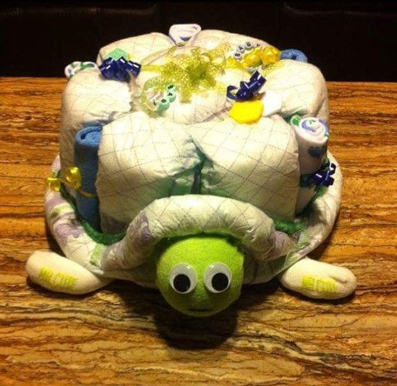 diaper cake Turtle diaper cake baby boy gift by OBabyDiaperCakesCo