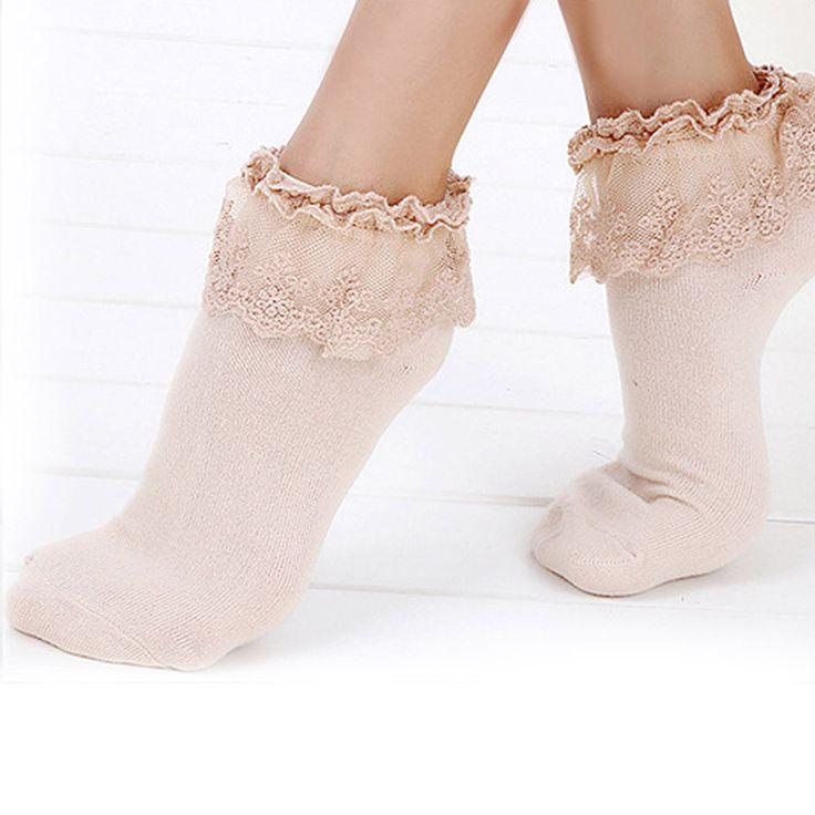 Princess Socks Girl Cute Sweet Women Ladies Vintage Lace Ruffle Frilly Ankle Socks #Affiliate