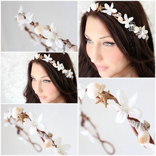 Free Shipping Bohemia Beach Wedding Headpiece Bridal Garland Head Wreath With Flowers Shells And Conchs Bridal Hair Accessories