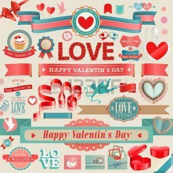 발렌타인 데이 세트 - 빈티지 리본 및 기타 디자인 요소 photo