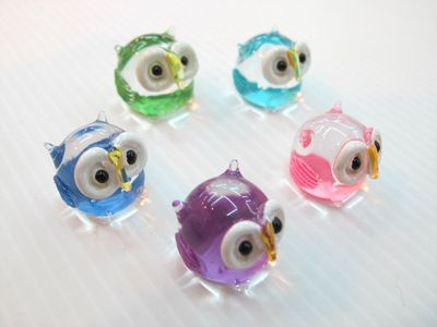 SET OF 5 Fantasy OWLS MINIATURE HAND BLOWN GLASS FIGURINE Collection