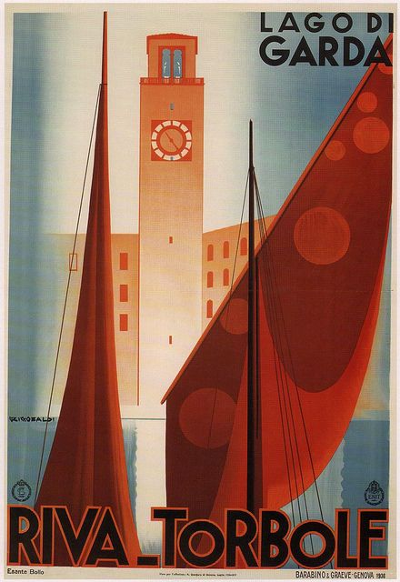 LAGO DI GARDA RIVA TORBOLE, 1936 Vintage Italian Travel Canvas Print 20x29 #Vintage