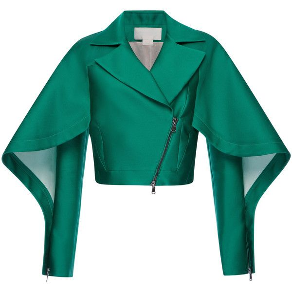 Antonio Berardi Emerald Silk Scuba Short Jacket ($3,000) ❤ liked on Polyvore featuring outerwear, jackets, silk slip, blue silk jacket, batting jackets, blue slip and short slip