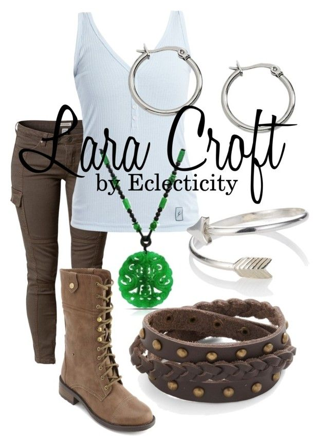 """""""Lara Croft"""" by whisperwings44 ❤ liked on Polyvore featuring Savannah, Charlotte Russe, Reeds Jewelers, Accessorize, origins, underworld, tomb raider, lara croft, eclcticity and legend"""