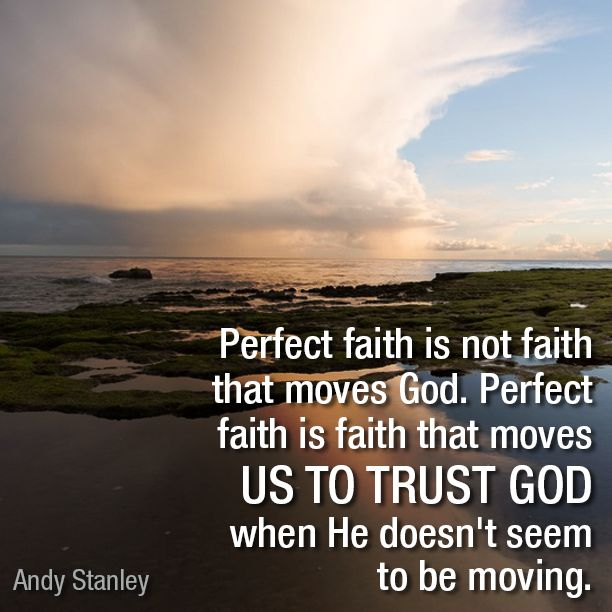 Perfect faith is not faith that moves God. Perfect faith is faith that moves us to trust God when He doesn't seem to be moving. - Andy Stanley