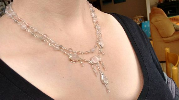 Holidays gift Rose quarts necklace by DeetzaJewels on Etsy