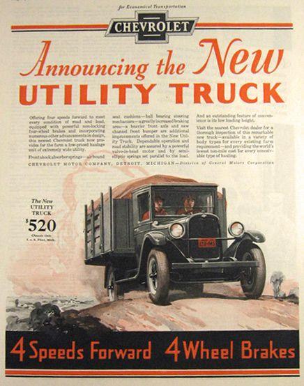 1928 Vintage #Chevy Utility Truck Ad - LindsayChevrolet.com #chevrolet