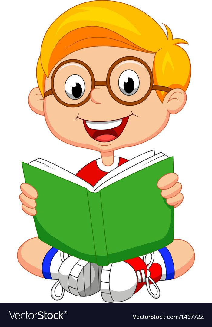 Young boy cartoon reading book vector image on ...