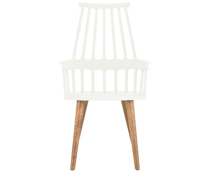 Der Armlehnstuhl COMBACK stammt zwar nicht aus dem 18. Jahrhundert, das Design ist aber von dem damals in England beliebten Windsor-Stuhl inspiriert. Kartell interpretiert das traditionelle Design modern und verleiht dem Stuhl einen sanften Anstrich in Weiß. Typisch:die zahlreichen Stäbchen aus Kunststoff, welche die bequeme Rückenlehne säumen.
