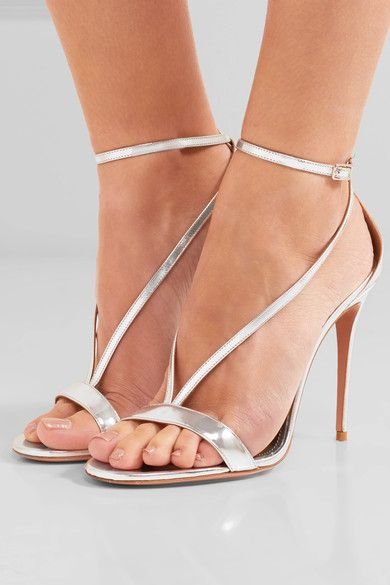 Heel measures approximately 105mm/ 4 inches Silver leather  Buckle-fastening ankle strap  Made in Italy