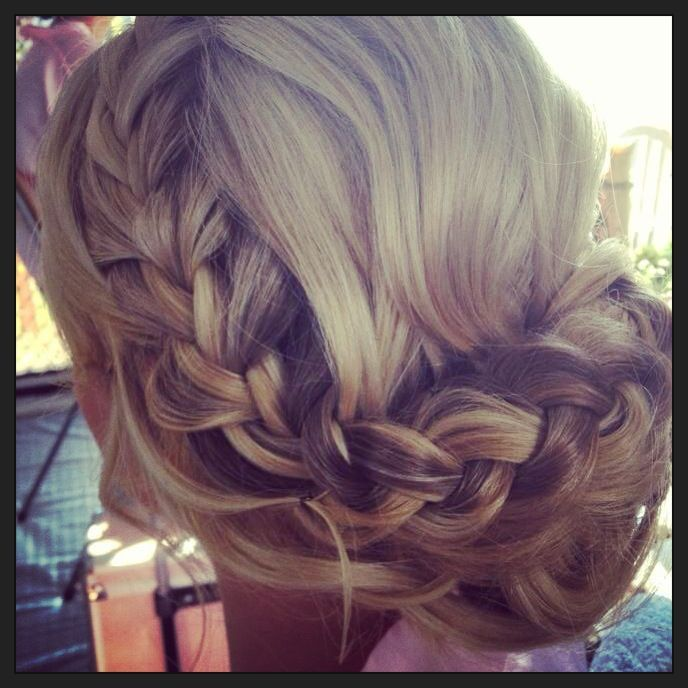 Wedding bridesmaids hairstyle with braids. I'm trying to find ideas since I was asked to do a bridesmaids hair! :)