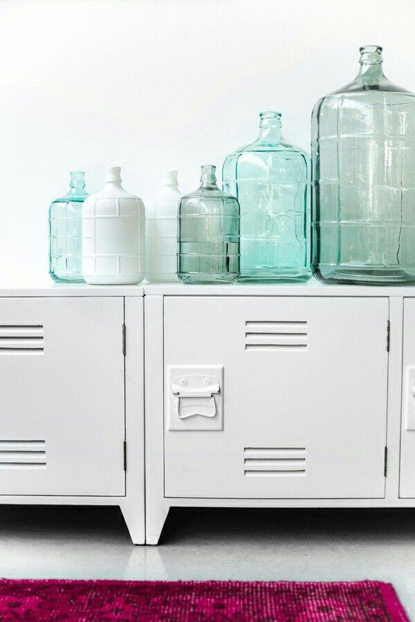 storage green vases white