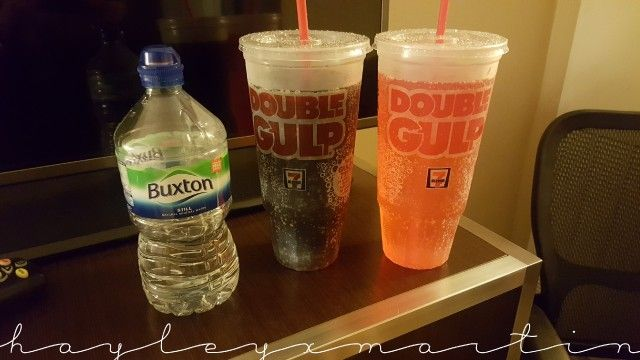 Double Gulp Drinks - Sold at 7-Eleven - Size comparison with 1L Buxton water