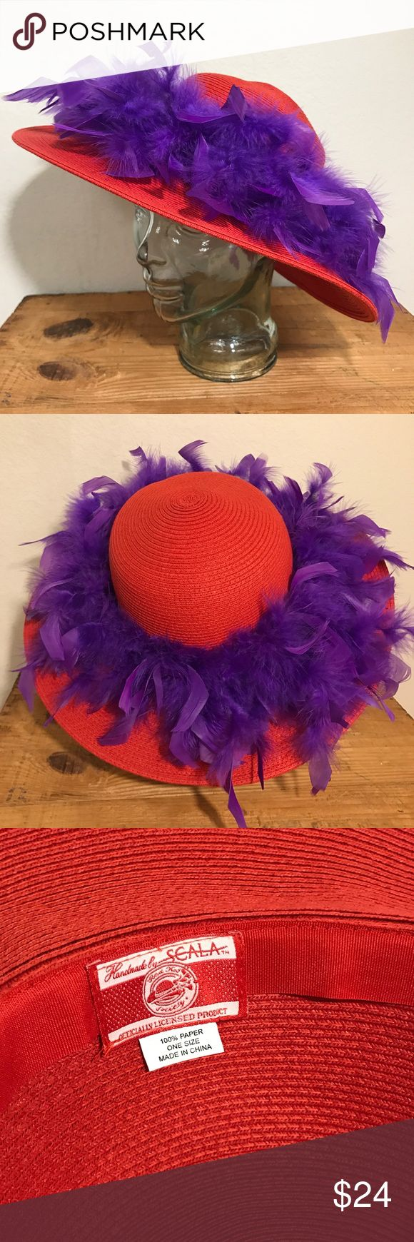 """Red Hat Society"" Hat by SCALA One Size ""Red Hat Society"" Red Hat Handmade by SCALA One Size With Purple Feathers  One Size fits most  Hat is 100% paper  Trimmed in purple feathers   Please see photos as we do consider them to be a part of the description. Scala Accessories Hats"