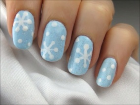 Snowflake Nails--use a toothpick to draw design