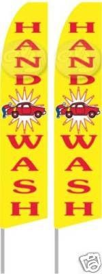 Hand Car Wash Two (2) Swooper Feather Banner Flag Signs