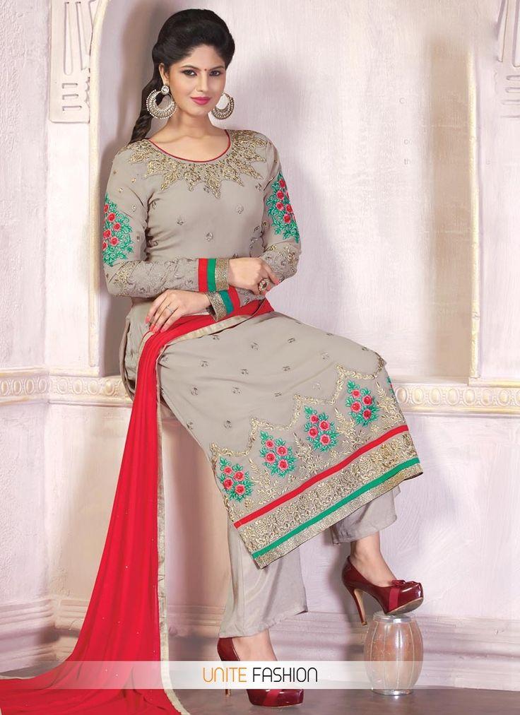 Winsome Beige Faux Georgette Palazzo Style Pakistani Salwar Suit