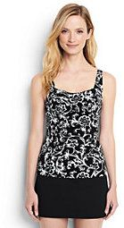 Lands' End Women's Petite Underwire Sweetheart Tankini Top-Black/White Etched Scroll