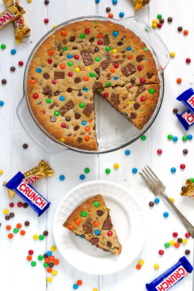 Loaded Chocolate Chip M&M Cookie Cake