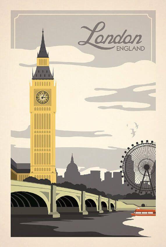 London, England vintage travel poster