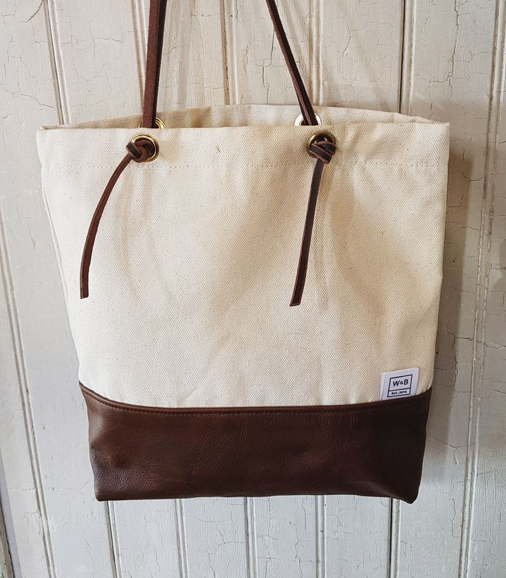 Canvas and Leather Tote - Beige and Dark Brown - W & B