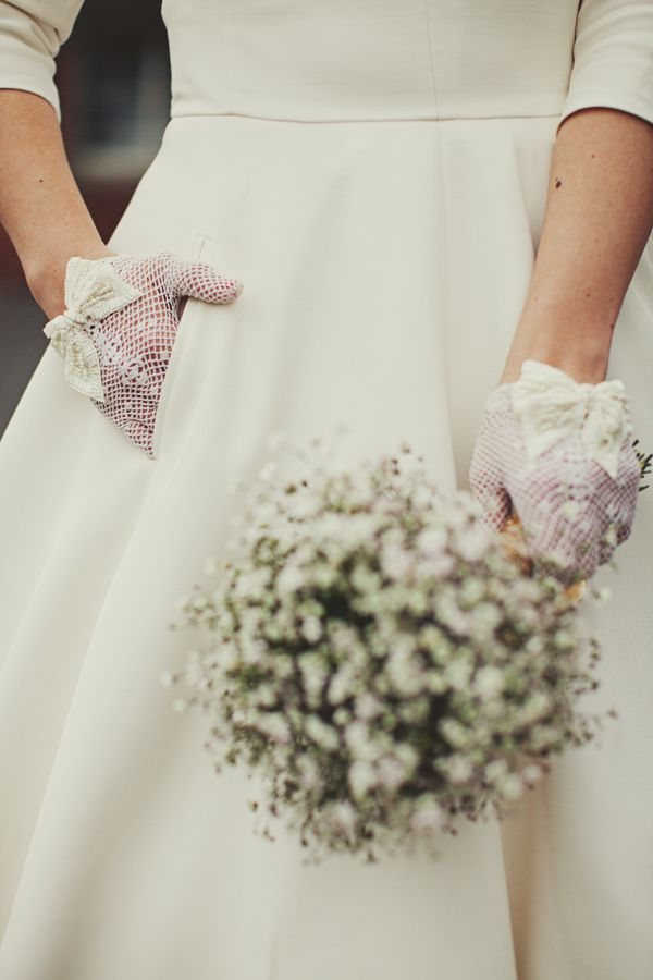 Lace gloves and baby's breath for Juliet to wear as she goes to her wedding
