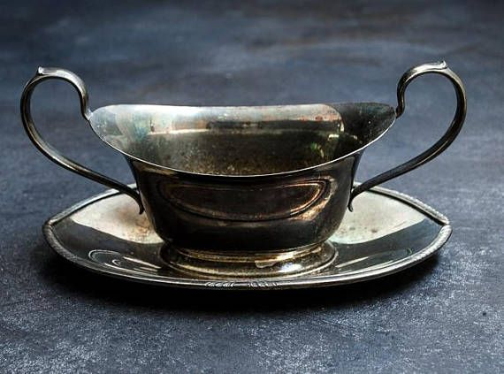 Silver Plate Gravy Bowl Rustic Antique Tarnished-Food