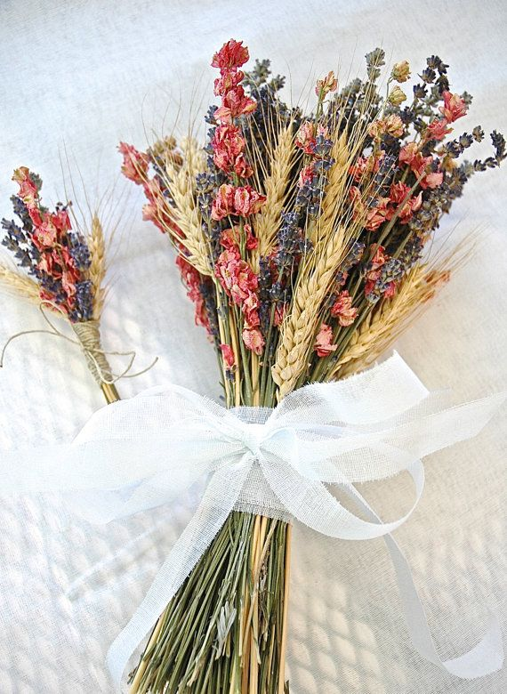Rustic Golden Summer or Fall Wedding Flower Girl Bouquet of Lavender Larkspur Wheat ❤️SHIPPING DETAILS This bouquet can ship in 4 weeks from order placement and will come via USPS PRIORITY MAIL.  If the bouquet is to be for a wedding or event, please order WELL BEFORE your date so there is plenty of time for shipping--while it usually takes 2-3 days for Priority Mail, that part is up to the Post Office:)  FLOWER GIRL BOUQUET Perfect for a Summer or Fall Wedding. This CHILD SIZED Flower Girl…