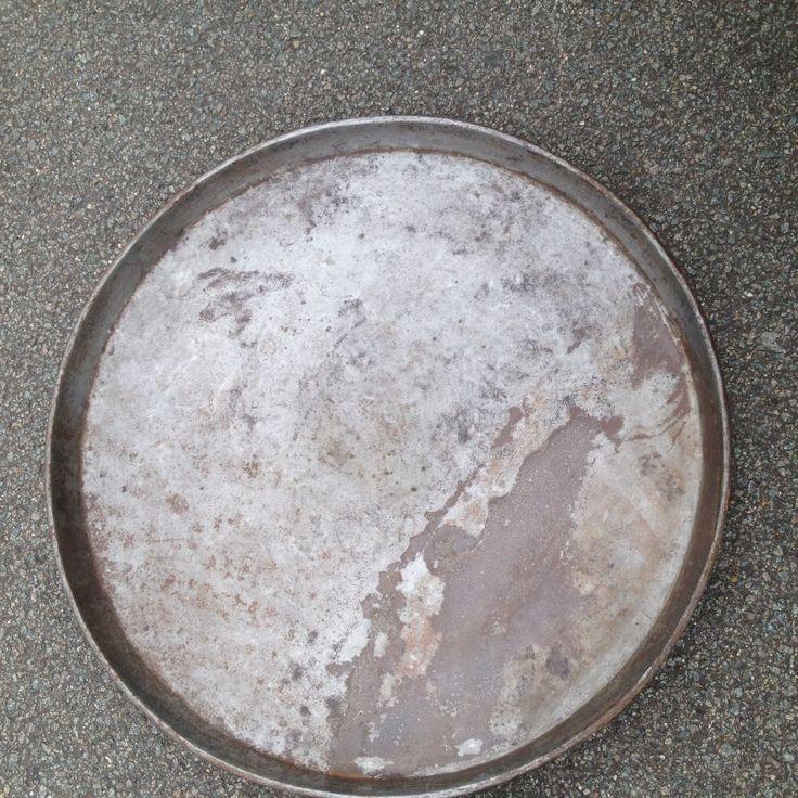 Groot rond oud ijzeren dienblad metaal 55 cm www for Groot rond zwembad