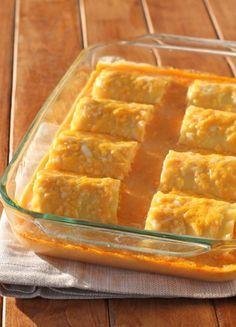 Buffalo Chicken Lasagna Roll-Ups (lasagna noodles, light butter, milk, reduced fat sharp cheddar, sharp cheddar, shredded chicken, reduced fat ricotta cheese)