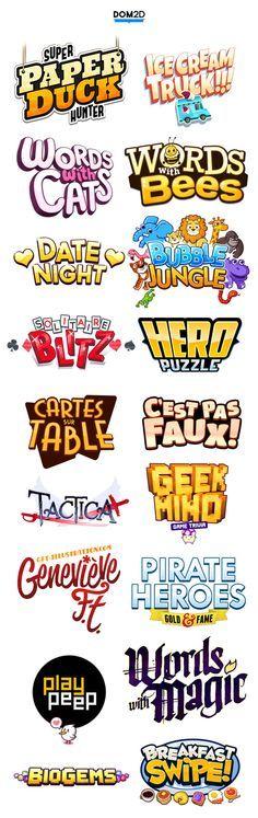 Ejemplos de identificadores de juegos. Se puede reconocer un patrón en tipografía, colores e ilustración.