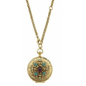 Ben-Amun Jeweled Pocketwatch Locket Necklace Jeweled Pocketwatch Locke
