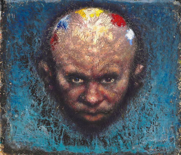 """Kurt Trampedach: """"Selvportræt. Blå baggrund"""". Sign. Trampedach 1991. Olie på meget kraftigt papir monteret på lærred. 53 x 63"""