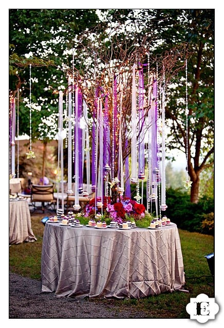 Streamers and ribbons hanging from curly willow - this is a beautiful table setting for an outdoor party!