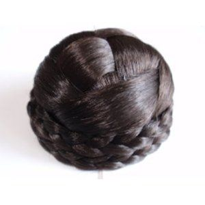 Amazon.co.jp: 楽々装着! シニヨンネット付き ヘアピース 髪飾り 編み込み ウィッグ ナチュラルブラウン: 服&ファッション小物