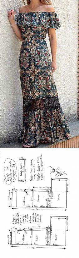 Vestido hombros descubiertos con moldes y medidas