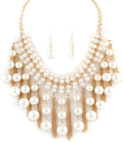 Tassels and Pearls Necklace Earrings Set  - $20