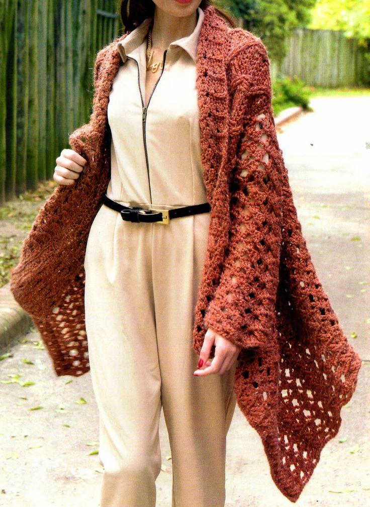 saco descontracturado tejido en crochet Un mix de puntos hacen de este abrigo, tejido en tres tiras, una opción práctica para todos los días.