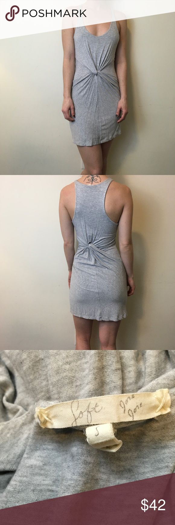 Joie Grey Sleeveless Knotted Mini Dress Joie Dress with a soft cotton body and is Sleeveless. No closures and has a Knotted center front. Super cute and is layered and a size small! Worn lightly and has no obvious flaws! Joie Dresses Mini