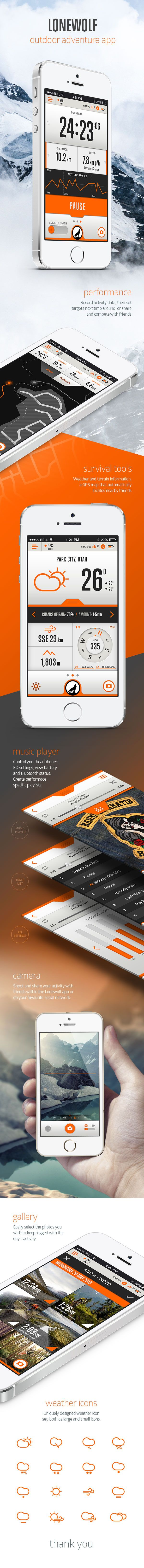 Unique App Design, Lonewolf #App #Design (http://www.pinterest.com/aldenchong/)