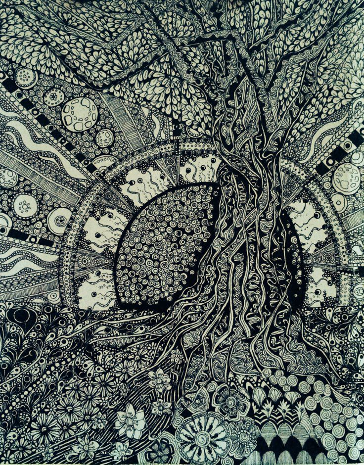 Zentangle tree. Visit the post for more.