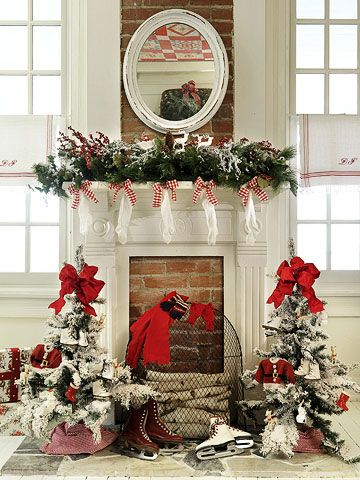 LOVE the ice skates by the fireplace. Not sure how that would look by my Florida fireplace though.