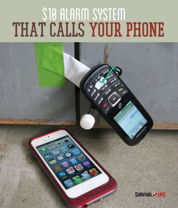 $10 DIY Alarm System That Calls Your Cellphone - Home Security Systems | Can't afford expensive home security systems? Ever wanted to know how to make your own DIY alarm system? Believe it or not, you can make your own wireless home security system for about $10 with a few simple hacks to a prepaid cellphone. Check it out! www.survivallife.com #survivallife