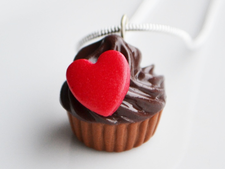 Chocolate Cupcake Necklace, Red Heart, Fimo, Polymer Clay. £7.00, via Etsy.