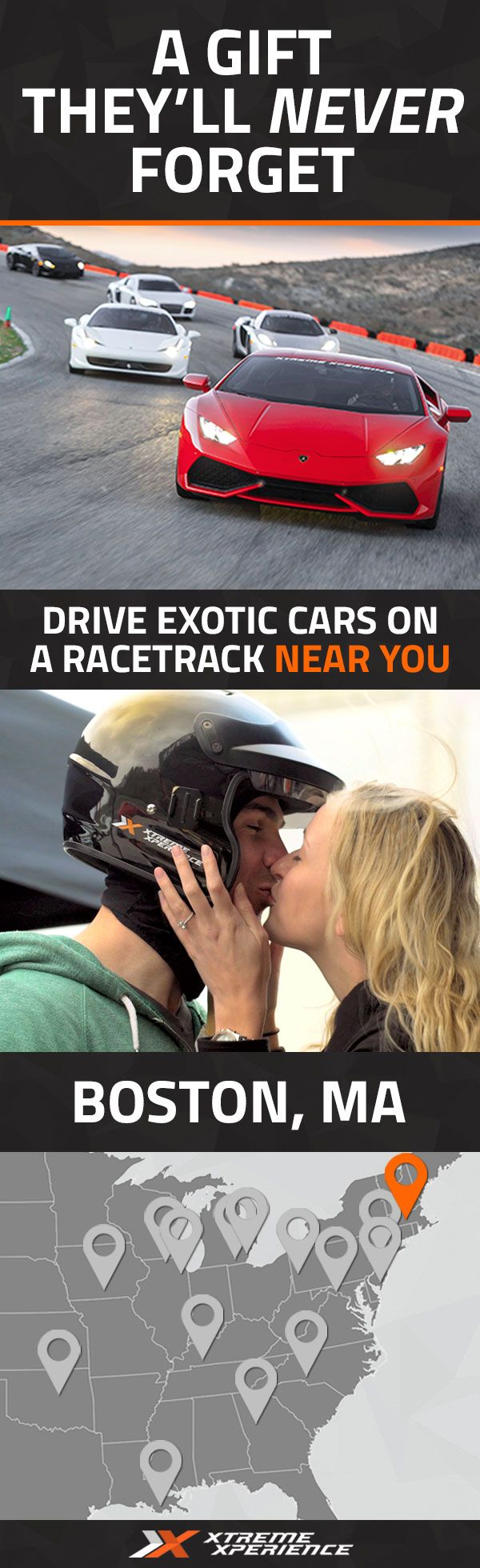 Give him an unforgettable gift this year. Driving a Ferrari, Lamborghini, Porsche or other exotic sports car on a racetrack is a unique gift idea that is guaranteed to leave a smile on his face, a good story to tell and a life-long memory. Xtreme Xperience brings the thrill of a lifetime to you at Palmer Motorsports Park, August 13-14, 2016 ONLY. Reserve your Supercar Xperience today for as low as $219. Space is limited!